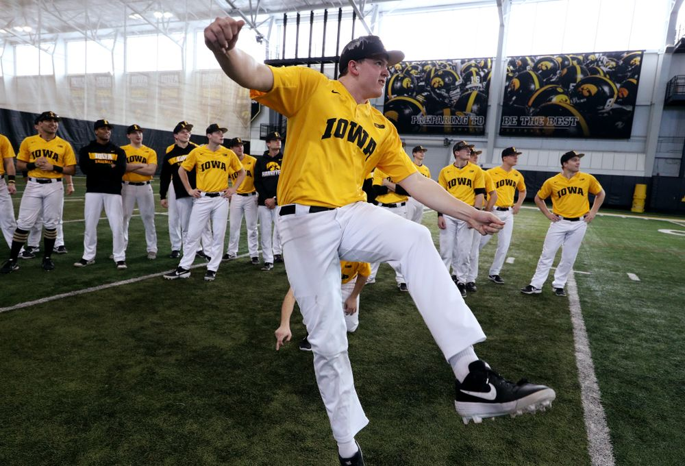 Iowa Hawkeyes first baseman Peyton Williams (45) attempts to kick a field goal before practice Thursday, February 6, 2020 at the Indoor Practice Facility. (Brian Ray/hawkeyesports.com)
