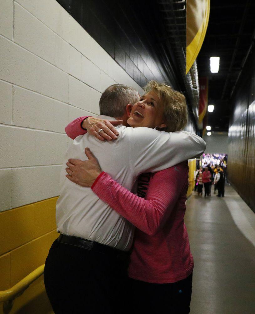 Iowa Hawkeyes head coach Lisa Bluder and athletics director Gary Barta against the seventh ranked Maryland Terrapins Sunday, February 17, 2019 at Carver-Hawkeye Arena. (Brian Ray/hawkeyesports.com)