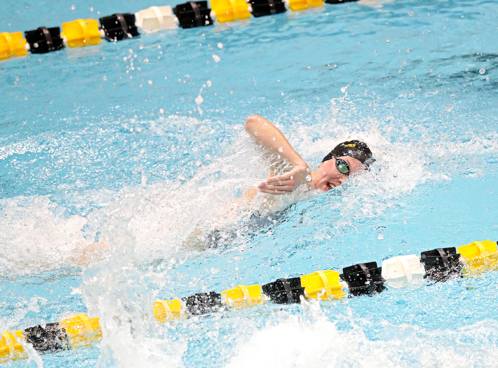 Iowa's Allyssa Fluit swims the women's 50 yard freestyle event during their meet at the Campus Recreation and Wellness Center in Iowa City on Friday, February 7, 2020. (Stephen Mally/hawkeyesports.com)