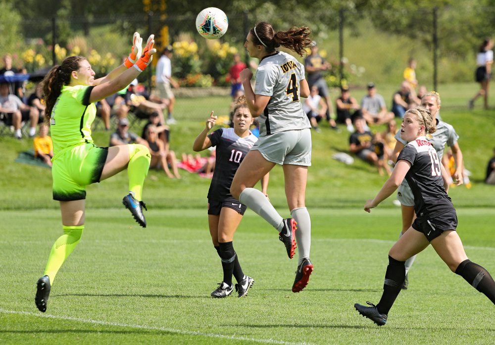 Iowa forward Kaleigh Haus (4) scores a goal during the first half of their match at the Iowa Soccer Complex in Iowa City on Sunday, Sep 1, 2019. (Stephen Mally/hawkeyesports.com)