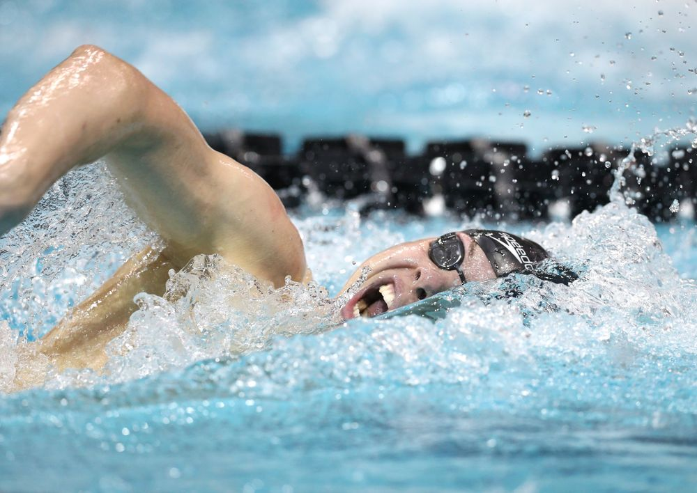 Iowa's Mateusz Arndt swims the 500-yard freestyle during the bonus finals of the second day at the 2019 Big Ten Swimming and Diving Championships Thursday, February 28, 2019 at the Campus Wellness and Recreation Center. (Brian Ray/hawkeyesports.com)