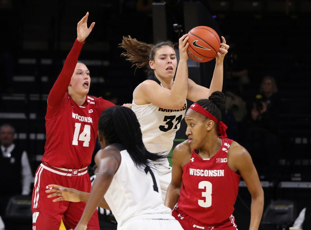 Iowa Hawkeyes forward/center Paula Valino Ramos (31) against the Wisconsin Badgers Monday, January 7, 2019 at Carver-Hawkeye Arena.  (Brian Ray/hawkeyesports.com)