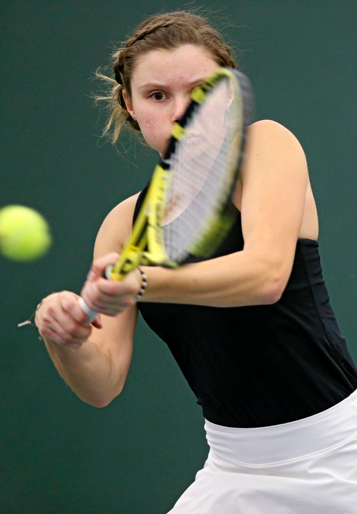 Iowa's Cloe Ruette during their doubles match against Indiana at the Hawkeye Tennis and Recreation Complex in Iowa City on Sunday, Mar. 31, 2019. (Stephen Mally/hawkeyesports.com)