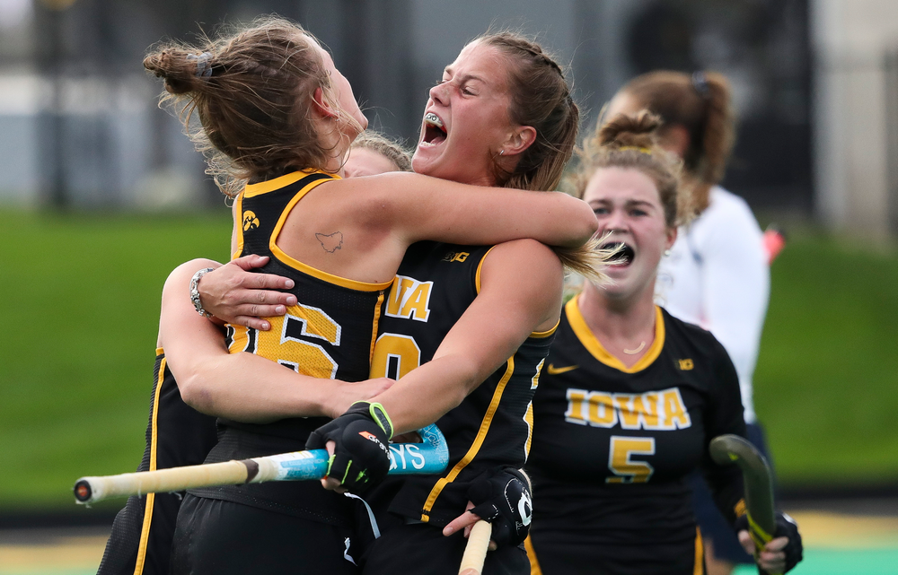 Iowa Hawkeyes forward Madeleine Murphy (26) and Iowa Hawkeyes midfielder Sophie Sunderland (20) celebrate after Murphy's first half goal during a game against No. 6 Penn State at Grant Field on October 12, 2018. (Tork Mason/hawkeyesports.com)