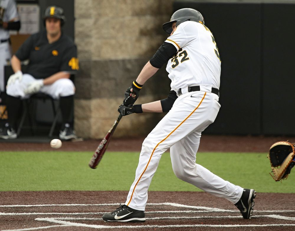 Iowa catcher Brett McCleary (32) bats during the fourth inning of their college baseball game at Duane Banks Field in Iowa City on Wednesday, March 11, 2020. (Stephen Mally/hawkeyesports.com)