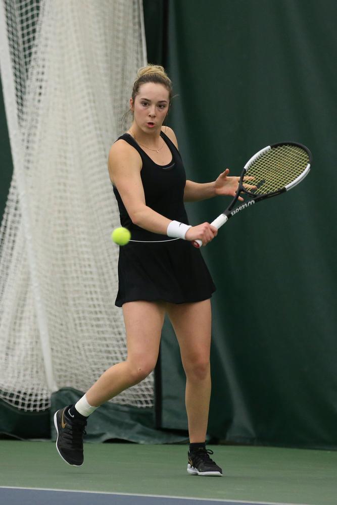 Iowa's Samantha Mannix during the Iowa women's tennis meet vs UNI  on Saturday, February 29, 2020 at the Hawkeye Tennis and Recreation Complex. (Lily Smith/hawkeyesports.com)