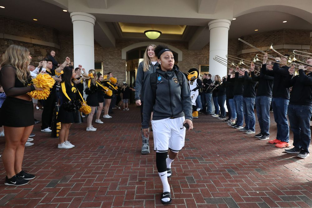 Iowa Hawkeyes guard Tania Davis (11) during a send off at the hotel before their game against the NC State Wolfpack in the regional semi-final of the 2019 NCAA Women's College Basketball Tournament Saturday, March 30, 2019 at Greensboro Coliseum in Greensboro, NC.(Brian Ray/hawkeyesports.com)