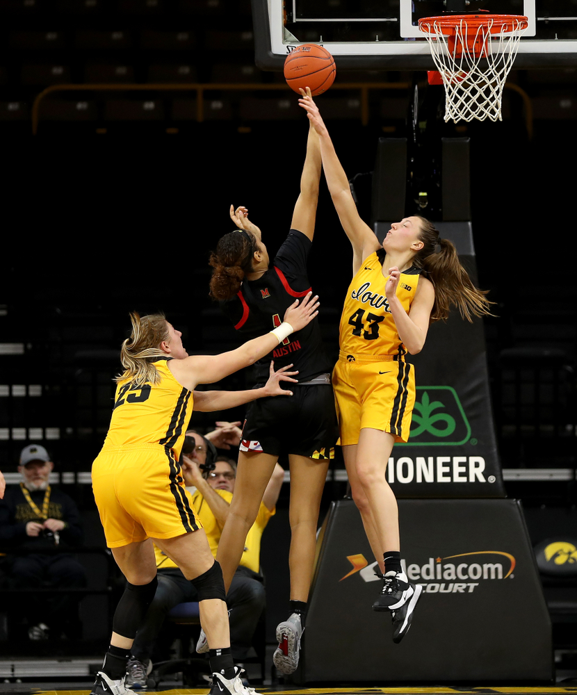 Iowa Hawkeyes forward Amanda Ollinger (43) against the Maryland Terrapins Thursday, January 9, 2020 at Carver-Hawkeye Arena. (Brian Ray/hawkeyesports.com)