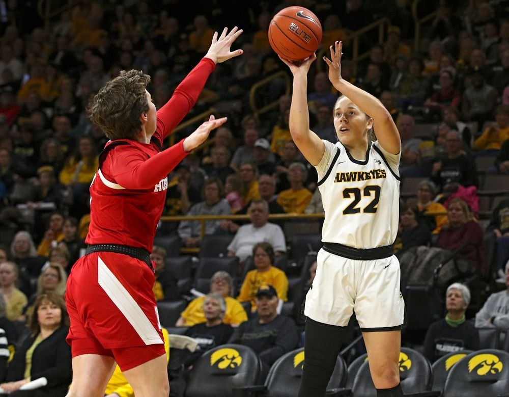 Iowa Hawkeyes guard Kathleen Doyle (22) puts up a shot during the first quarter of the game at Carver-Hawkeye Arena in Iowa City on Thursday, February 6, 2020. (Stephen Mally/hawkeyesports.com)