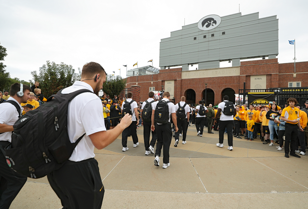 The Hawkeyes arrive before their game at Kinnick Stadium in Iowa City on Saturday, Sep 28, 2019. (Stephen Mally/hawkeyesports.com)