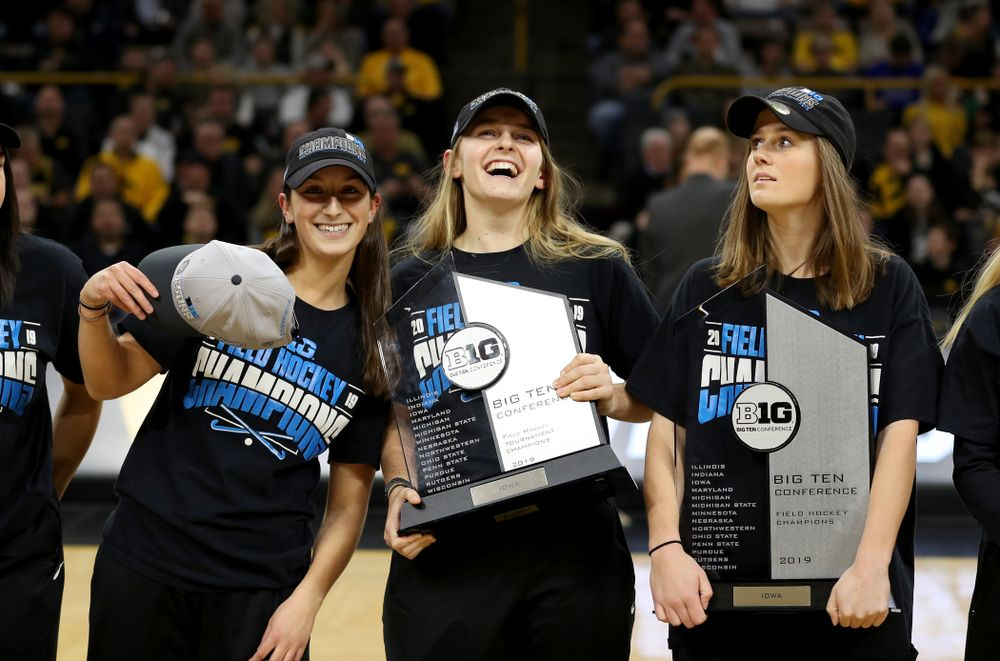 Isabella Solaroli, Katie Birch, and Sophie Sunderland and the rest of the Iowa Field Hockey team are recognized during the Iowa Hawkeyes game against the Ohio State Buckeyes Thursday, February 20, 2020 at Carver-Hawkeye Arena. (Brian Ray/hawkeyesports.com)