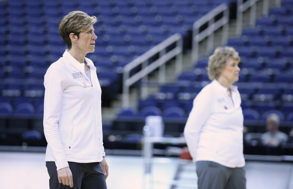 Associate Head Coach Jan Jensen during practice and media before the regional final of the 2019 NCAA Women's College Basketball Tournament against the Baylor Bears Sunday, March 31, 2019 at Greensboro Coliseum in Greensboro, NC.(Brian Ray/hawkeyesports.com)