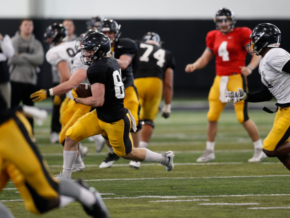 Iowa Hawkeyes wide receiver Nick Easley (84) during spring practice  Saturday, March 31, 2018 at the Hansen Football Performance Center. (Brian Ray/hawkeyesports.com)