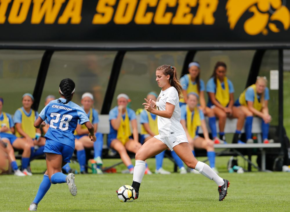 Iowa Hawkeyes Hannah Drkulec (17) against the Creighton Bluejays  Sunday, August 19, 2018 at the Iowa Soccer Complex. (Brian Ray/hawkeyesports.com)