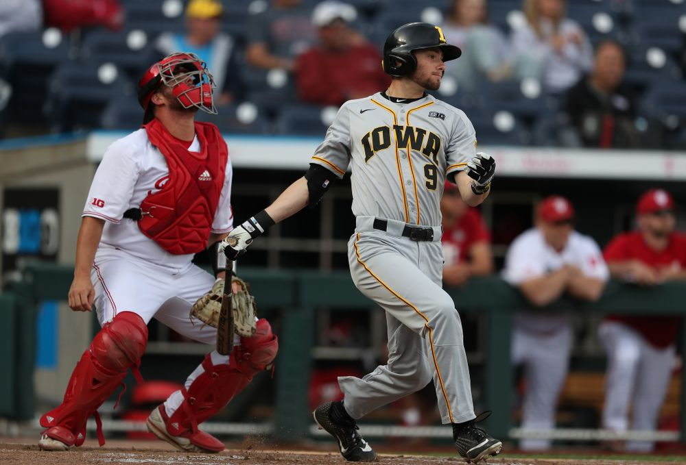 Iowa Hawkeyes outfielder Ben Norman (9) against the Indiana Hoosiers in the first round of the Big Ten Baseball Tournament Wednesday, May 22, 2019 at TD Ameritrade Park in Omaha, Neb. (Brian Ray/hawkeyesports.com)