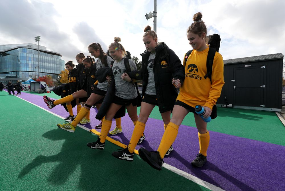 The freshman cross the line before their game against the Michigan Wolverines in the semi-finals of the Big Ten Tournament Friday, November 2, 2018 at Lakeside Field on the campus of Northwestern University in Evanston, Ill. (Brian Ray/hawkeyesports.com)