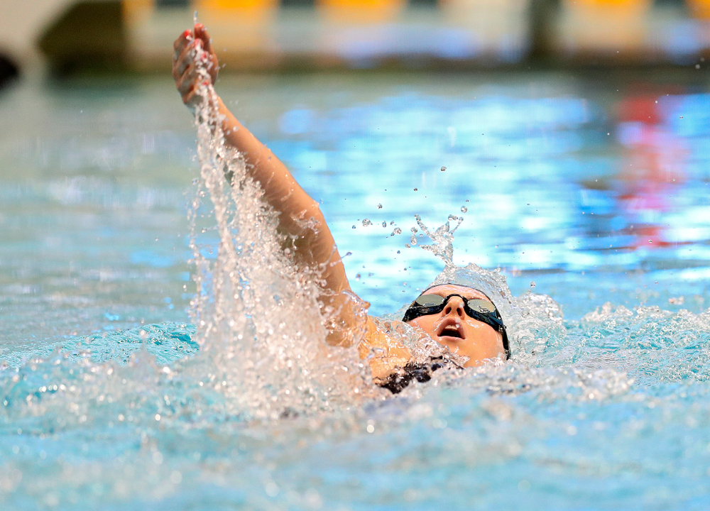 Iowa's Christina Crane swims the women's 400 yard individual medley preliminary event during the 2020 Women's Big Ten Swimming and Diving Championships at the Campus Recreation and Wellness Center in Iowa City on Friday, February 21, 2020. (Stephen Mally/hawkeyesports.com)