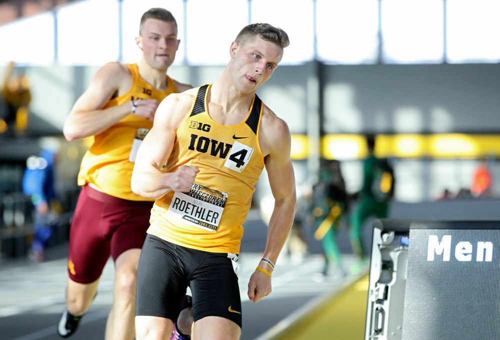 Iowa's Nolan Roethler runs the men's 400 meter dash event during the Larry Wieczorek Invitational at the Recreation Building in Iowa City on Saturday, January 18, 2020. (Stephen Mally/hawkeyesports.com)