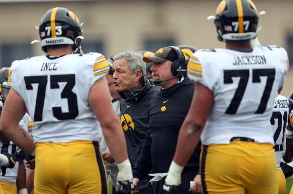 Iowa Hawkeyes head coach Kirk Ferentz against the Northwestern Wildcats Saturday, October 26, 2019 at Ryan Field in Evanston, Ill. (Brian Ray/hawkeyesports.com)