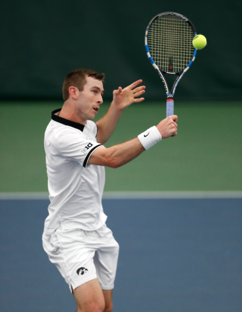 Jake Jacoby against Purdue Sunday, April 15, 2018 at the Hawkeye Tennis and Recreation Center. (Brian Ray/hawkeyesports.com)
