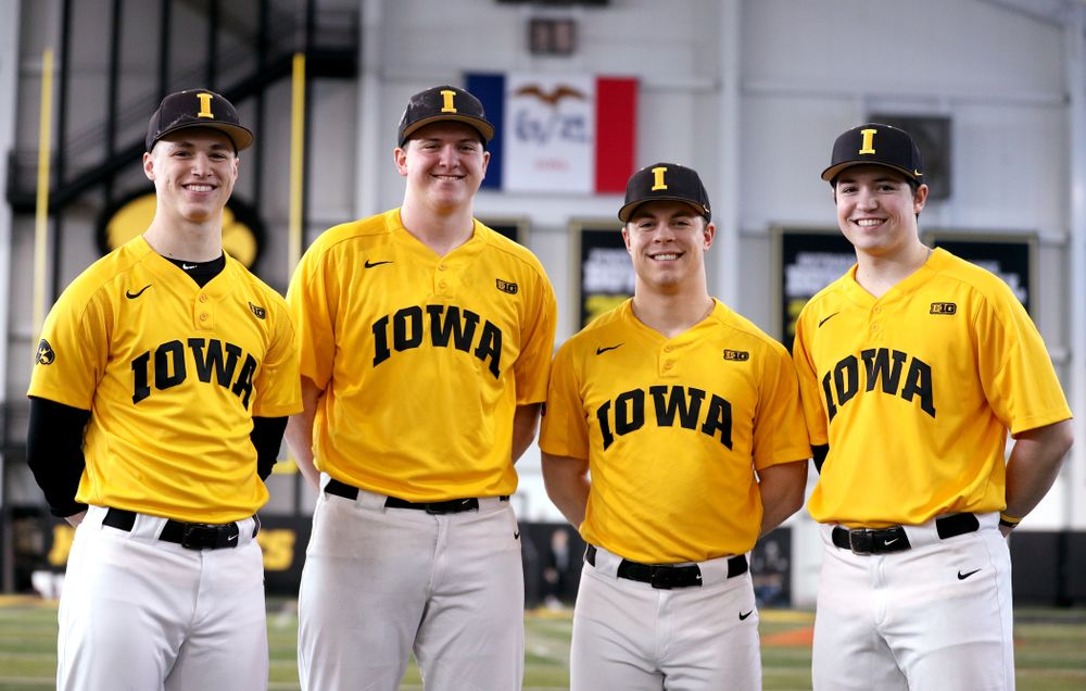 Iowa Hawkeyes Jack Dreyer, Peyton Williams, Andrew Nord, and Jackson Vines, who all played at Johnston High School, stand together during their annual media day Thursday, February 6, 2020 at the Indoor Practice Facility. (Brian Ray/hawkeyesports.com)