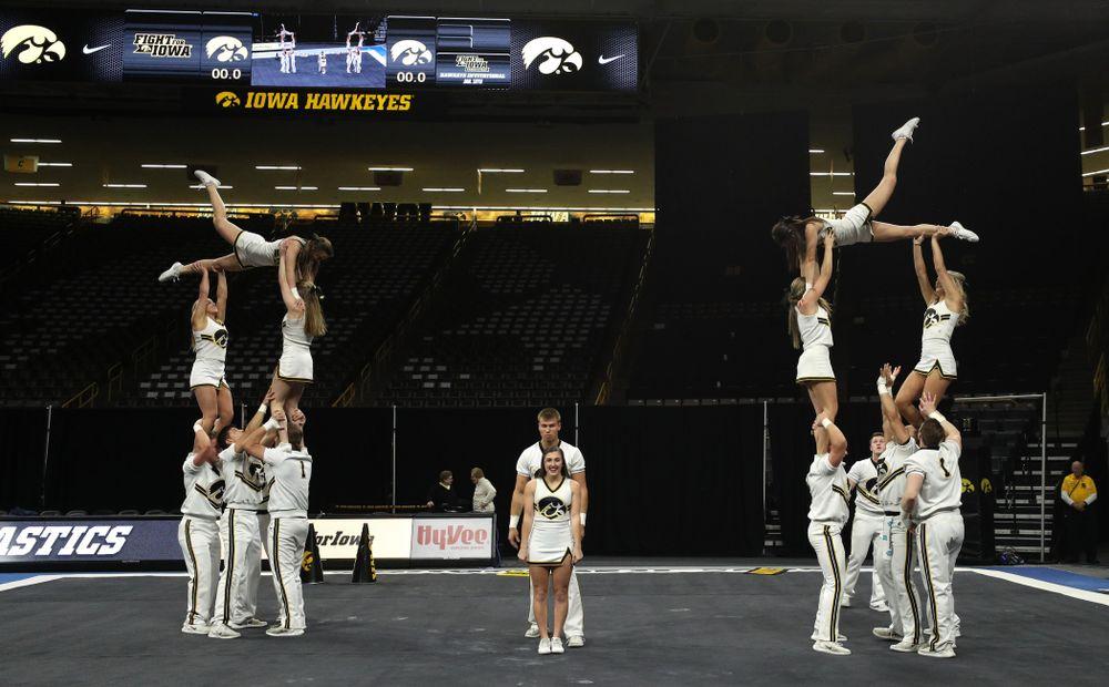 The Iowa Cheerleaders perform before the Iowa Women's Gymnastics meet against Southeast Missouri State Friday, January 11, 2019 at Carver-Hawkeye Arena. (Brian Ray/hawkeyesports.com)