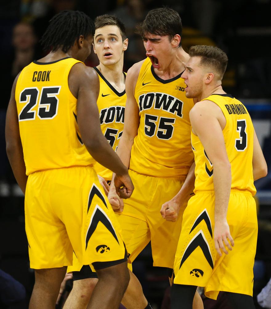 Iowa Hawkeyes forward Luka Garza (55) reacts after making a basket while being fouled against Wisconsin on November 30, 2018 at Carver-Hawkeye Arena. (Tork Mason/hawkeyesports.com)