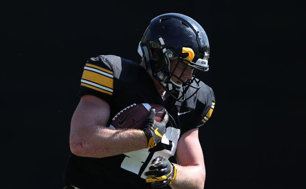Iowa Hawkeyes tight end Shaun Beyer (42) during Fall Camp Practice No. 5 Tuesday, August 6, 2019 at the Ronald D. and Margaret L. Kenyon Football Practice Facility. (Brian Ray/hawkeyesports.com)