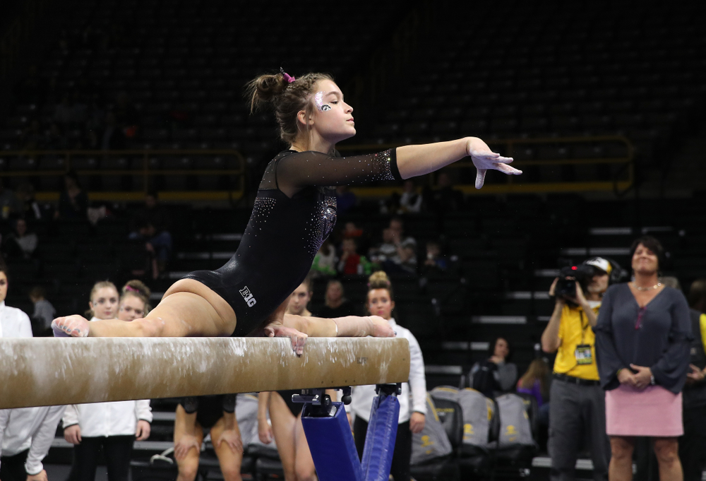 Iowa's Mackenzie Vance competes on the beam against the Minnesota Golden Gophers Saturday, January 19, 2019 at Carver-Hawkeye Arena. (Brian Ray/hawkeyesports.com)