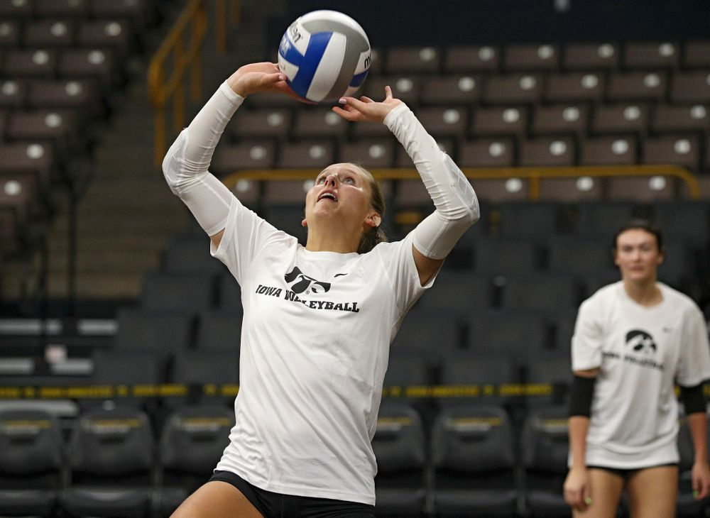 Iowa's Maddie Slagle (15) during Iowa Volleyball's Media Day at Carver-Hawkeye Arena in Iowa City on Friday, Aug 23, 2019. (Stephen Mally/hawkeyesports.com)