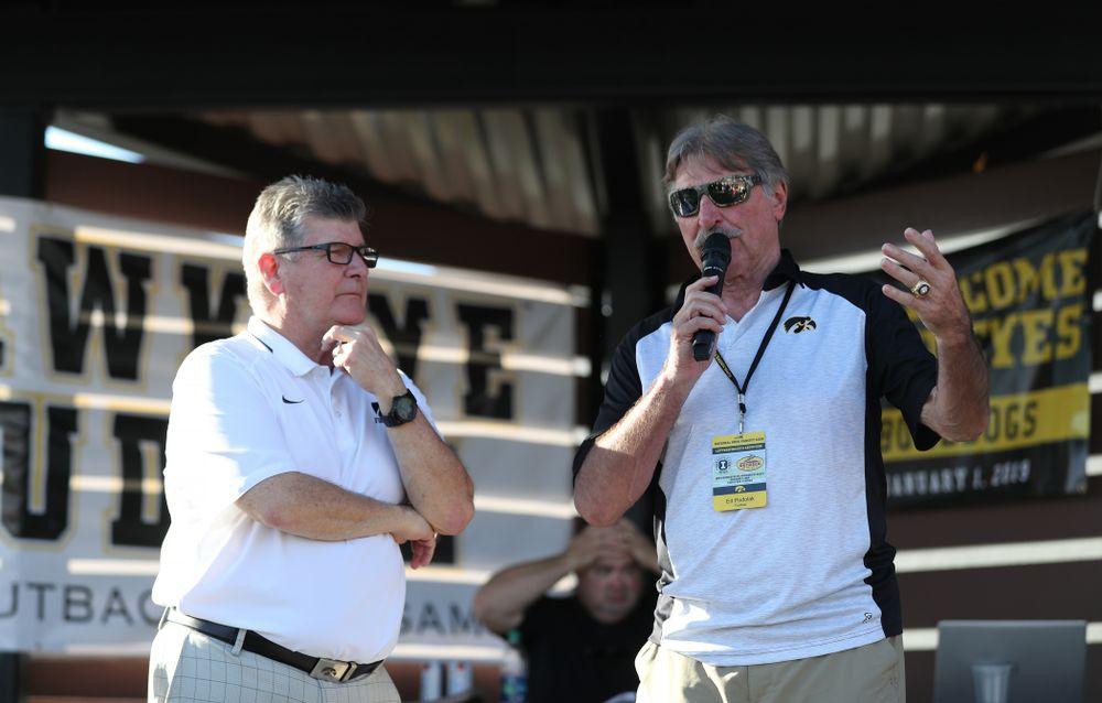 Hawkeye Football Radio team Gary Dolphin and Ed Podolak break down the game during the Hawkeye Huddle Monday, December 31, 2018 at Sparkman Wharf in Tampa, FL. (Brian Ray/hawkeyesports.com)