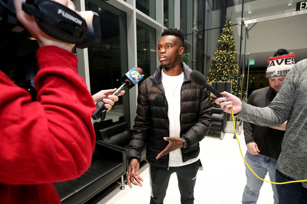 Iowa Hawkeyes defensive back Michael Ojemudia (11) answers questions from the media on the Hawkeyes selection to face USC in the 2019 Holiday Bowl Sunday, December 8, 2019 at the Hansen Football Performance Center. (Brian Ray/hawkeyesports.com)