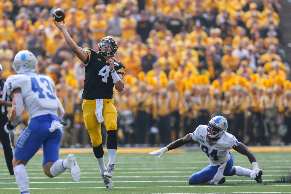 Iowa Hawkeyes quarterback Nate Stanley (4) against Middle Tennessee Saturday, September 28, 2019 at Kinnick Stadium. (Lily Smith/hawkeyesports.com)