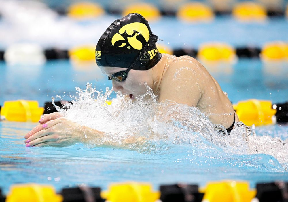 Iowa's Aleksandra Olesiak swims the breaststroke section in the women's 400 yard medley relay event during their meet at the Campus Recreation and Wellness Center in Iowa City on Friday, February 7, 2020. (Stephen Mally/hawkeyesports.com)