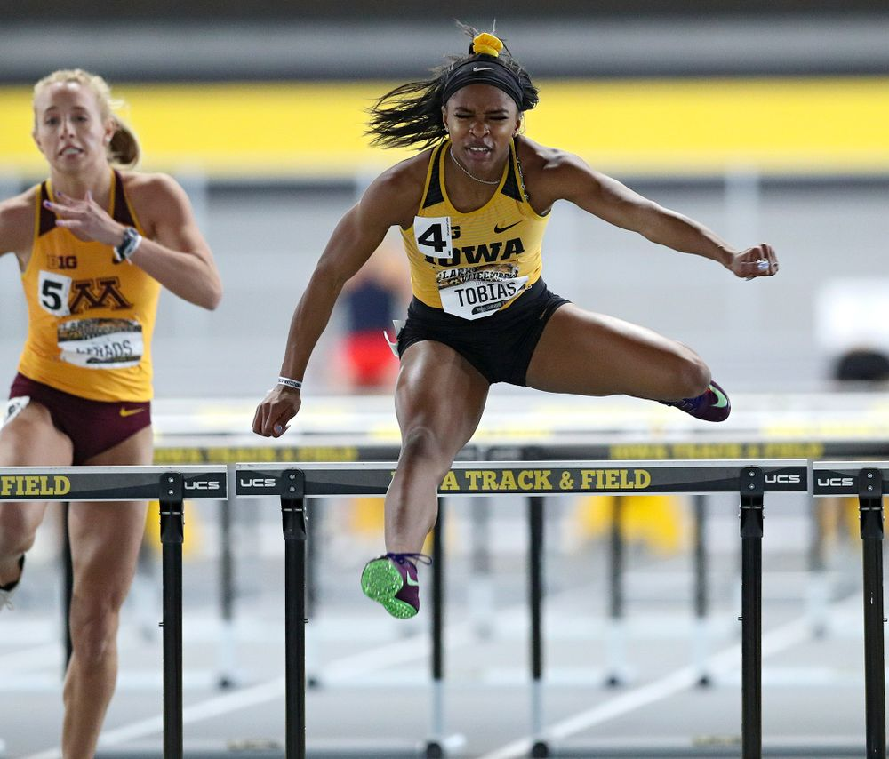 Iowa's Tionna Tobias runs the women's 60 meter hurdles premier preliminary event during the Larry Wieczorek Invitational at the Recreation Building in Iowa City on Saturday, January 18, 2020. (Stephen Mally/hawkeyesports.com)