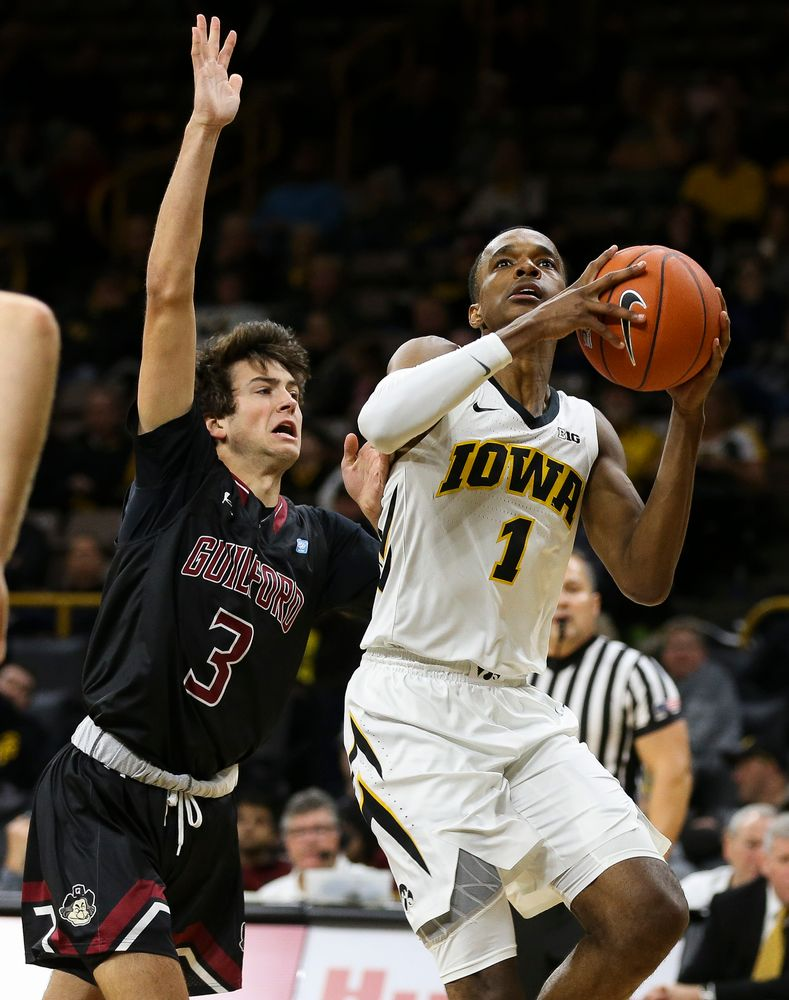 Iowa Hawkeyes guard Maishe Dailey (1) goes up for a shot during a game against Guilford College at Carver-Hawkeye Arena on November 4, 2018. (Tork Mason/hawkeyesports.com)