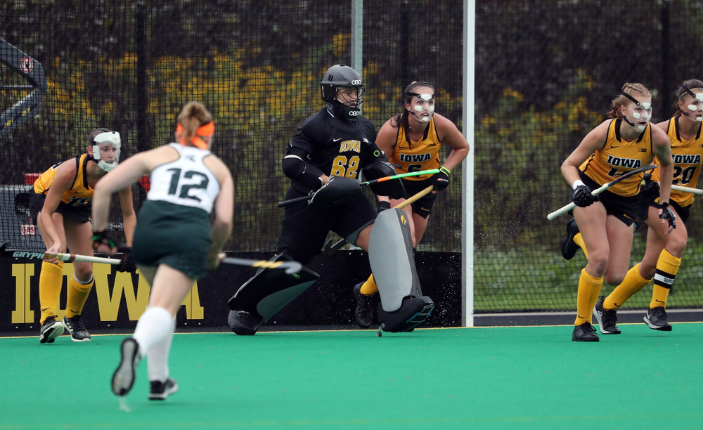 Iowa Hawkeyes goaltender Grace McGuire (62) against the Michigan State Spartans Sunday, September 29, 2019 at Grant Field. (Brian Ray/hawkeyesports.com)