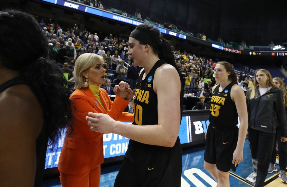 Iowa Hawkeyes forward Megan Gustafson (10) and Baylor Lady Bears head coach Kim Mulkey in the 2019 NCAA Women's College Basketball Tournament Monday, April 1, 2019 at Greensboro Coliseum in Greensboro, NC.(Brian Ray/hawkeyesports.com)