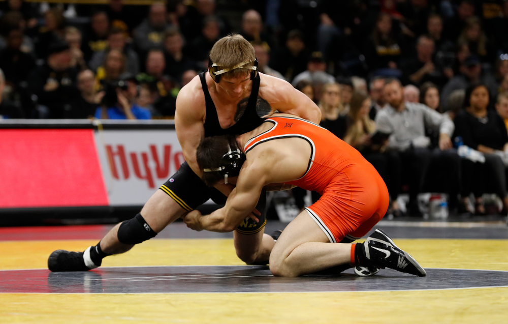 Iowa's Cash Wilcke Wrestles Oklahoma State's Preston Weigel at 197 pounds