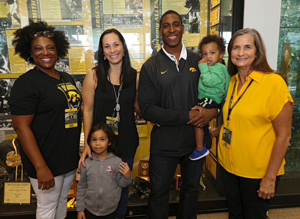 2019 University of Iowa Athletics Hall of Fame inductee Jeremy Allen with his family at the University of Iowa Athletics Hall of Fame in Iowa City on Friday, Aug 30, 2019. (Stephen Mally/hawkeyesports.com)