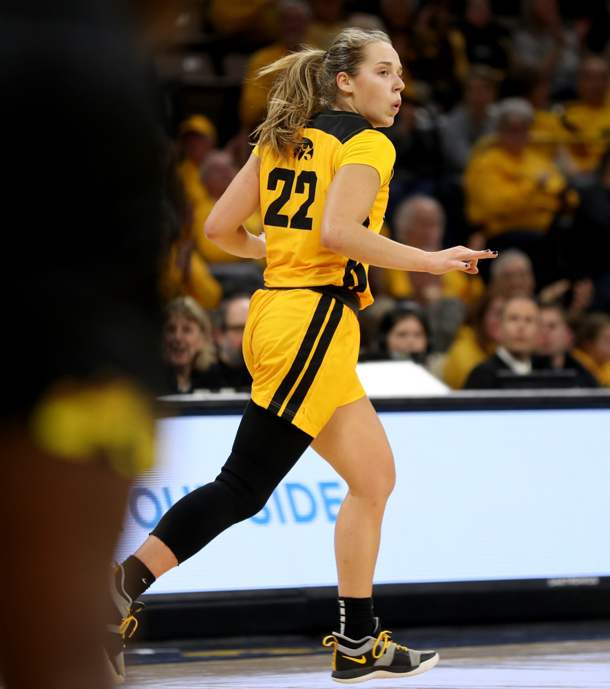 Iowa Hawkeyes guard Kathleen Doyle (22) celebrates a three point basket against the Maryland Terrapins Thursday, January 9, 2020 at Carver-Hawkeye Arena. (Brian Ray/hawkeyesports.com)
