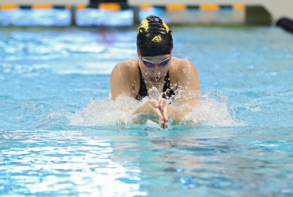 Iowa's Zoe Mekus swims in the women's 100 yard breaststroke time trial event during the 2020 Women's Big Ten Swimming and Diving Championships at the Campus Recreation and Wellness Center in Iowa City on Saturday, February 22, 2020. (Stephen Mally/hawkeyesports.com)