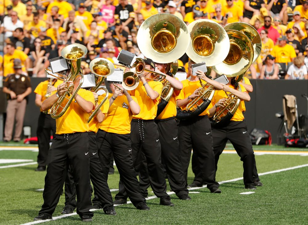 The Hawkeye Marching Band performs against the Northern Illinois Huskies Saturday, September 1, 2018 at Kinnick Stadium. (Brian Ray/hawkeyesports.com)