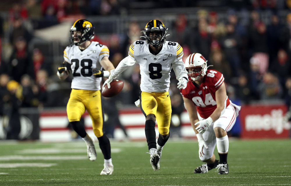 Iowa Hawkeyes defensive back Matt Hankins (8) against the Wisconsin Badgers Saturday, November 9, 2019 at Camp Randall Stadium in Madison, Wisc. (Brian Ray/hawkeyesports.com)