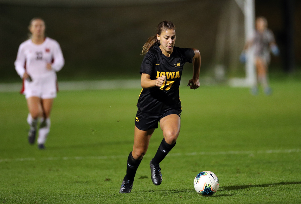 Iowa Hawkeyes defender Hannah Drkulec (17) against the Nebraska Cornhuskers Thursday, October 3, 2019 at the Iowa Soccer Complex. (Brian Ray/hawkeyesports.com)