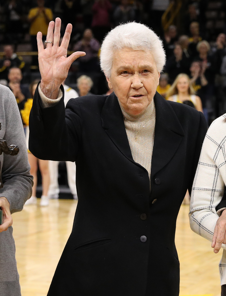 Dr. Christine Grant before the Iowa Hawkeyes game against the Robert Morris Colonials Sunday, December 2, 2018 at Carver-Hawkeye Arena. (Brian Ray/hawkeyesports.com)