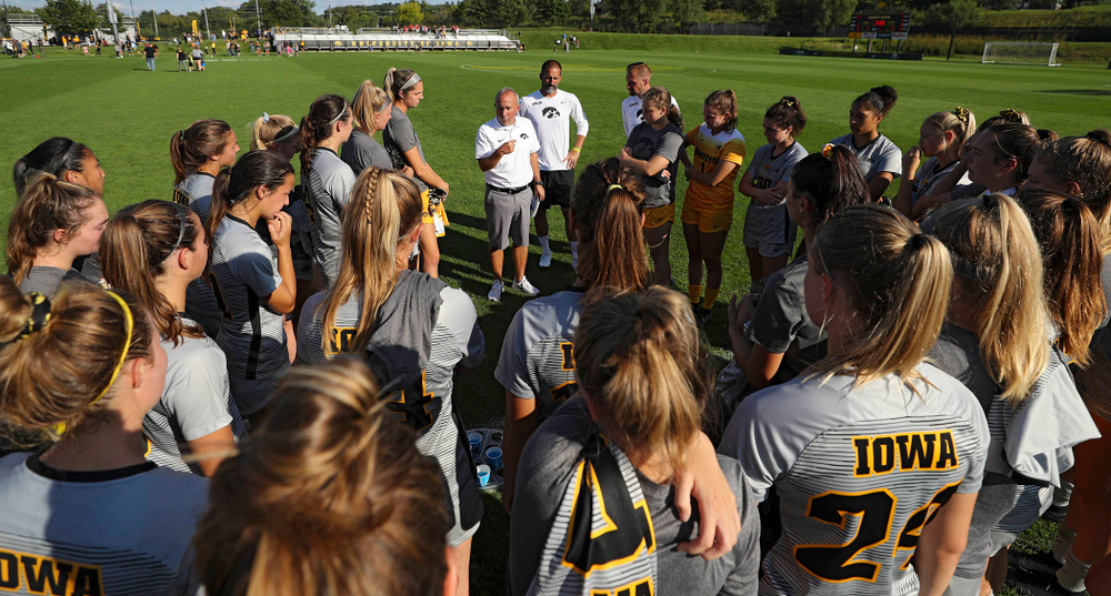 Iowa head coach Dave DiIanni talks with his team after their match at the Iowa Soccer Complex in Iowa City on Sunday, Sep 1, 2019. (Stephen Mally/hawkeyesports.com)