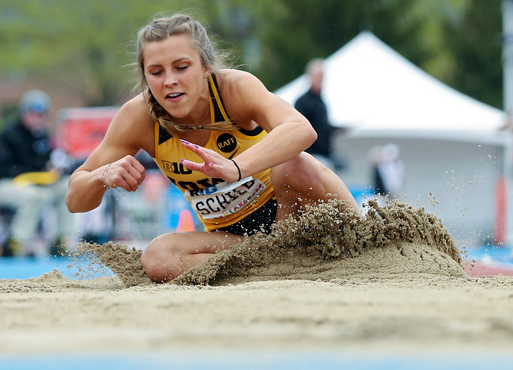 Iowa's Hannah Schilb jumps in the women's triple jump event on the third day of the Big Ten Outdoor Track and Field Championships at Francis X. Cretzmeyer Track in Iowa City on Sunday, May. 12, 2019. (Stephen Mally/hawkeyesports.com)