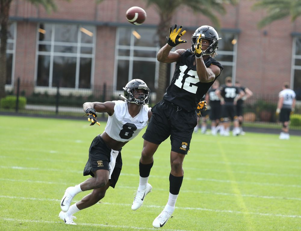 Iowa Hawkeyes wide receiver Brandon Smith (12) during practice for the 2019 Outback Bowl Friday, December 28, 2018 at the University of Tampa. (Brian Ray/hawkeyesports.com)