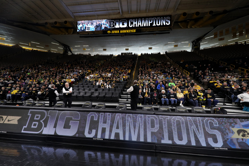 Fans cheer on the Iowa Hawkeyes during a celebration of their Big Ten Women's Basketball Tournament championship Monday, March 18, 2019 at Carver-Hawkeye Arena. (Brian Ray/hawkeyesports.com)